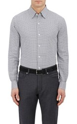 Ermenegildo Zegna Men's Checked Cotton Dress Shirt Grey