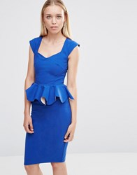 City Goddess Peplum Midi Dress Blue