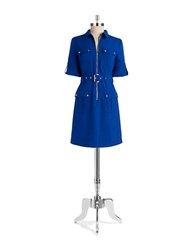 Michael Michael Kors Belted Roll Sleeve Shirt Dress Royal Blue