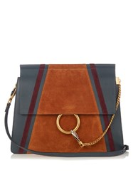 Chloe Faye Medium Suede And Leather Shoulder Bag Blue Multi