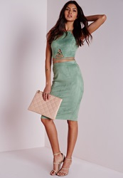 Missguided Faux Suede Midi Skirt Mint Green