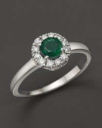 Bloomingdale's Emerald And Diamond Ring In 14K White Gold Multi