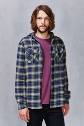 Globe Alfred Hooded Flannel Button Down Shirt Navy
