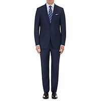 Ermenegildo Zegna Men's Milano Plaid Wool Cashmere Two Button Suit Navy
