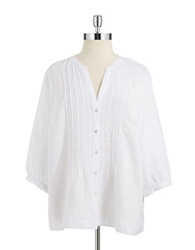 Jones New York Plus Plus Linen Peasant Top
