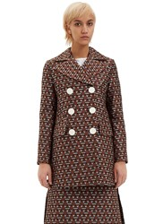 Marni Double Breasted Jacquard Jacket Brown