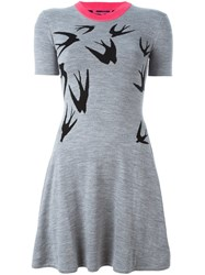 Mcq By Alexander Mcqueen Swallow Intarsia Skater Dress Grey
