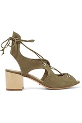 Schutz Lace Up Nubuck Sandals Army Green