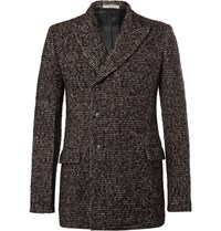 Bottega Veneta Double Breasted Wool Blend Tweed Blazer Plum