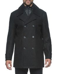 Marc New York Cushing Double Breasted Pea Coat Black