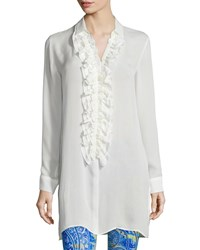 Etro Long Sleeve Ruffle Front Tunic Blouse White Women's