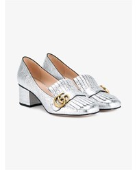 Gucci Metallic Leather Marmont Loafers Metallic Silver