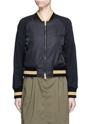 3.1 Phillip Lim Flocked Animal Print Panelled Bomber Jacket Black