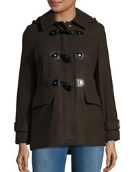 Michael Michael Kors Wool Blend Hooded Toggle Coat Olive