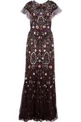 Needle And Thread Enchanted Embellished Tulle Maxi Dress Claret