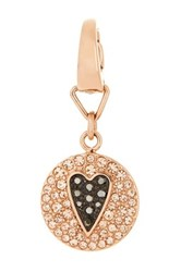 Fossil Two Tone Pave Heart Charm Metallic
