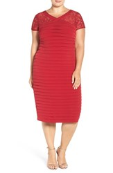 London Times Plus Size Women's Lace Yoke Midi Dress Red