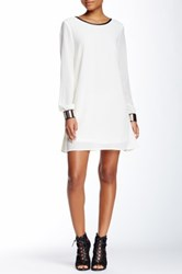 Loveriche Long Sleeve Faux Leather Trim Mini Dress White