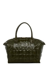 Abro Crocodile Embossed Leather Tote Green