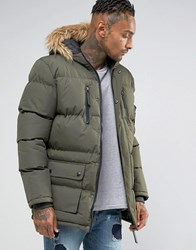 Criminal Damage Parka With Faux Fur Hood Olive Green