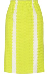 M Missoni Paneled Broderie Anglaise Cotton And Silk Blend Skirt Chartreuse