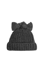 Federica Moretti Bow Embellished Beanie Hat Dark Grey
