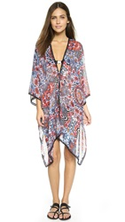Red Carter Illusion Kimono Cover Up Multi
