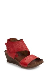 Women's Miz Mooz 'Seline' Perforated Wedge Sandal Red Leather