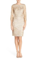 Women's Sue Wong Open Back Embroidered Sheath Dress