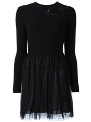 Red Valentino Chest Applique Longsleeved Dress Black