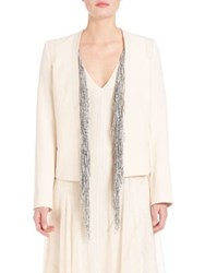 Foundrae Two Piece Fringe Detail Leather Jacket Cream