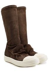 Rick Owens Suede Slip On Boots Brown