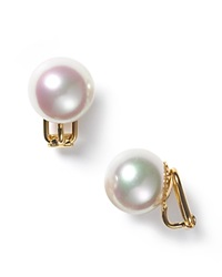 Majorica 14Mm White Simulated Pearl Clip On Earrings