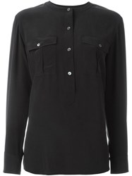 Theory Henley Blouse Black