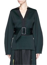 Toga Archives Belted Double Jersey Cardigan Green