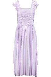 Vionnet Pleated Jersey Midi Dress Purple