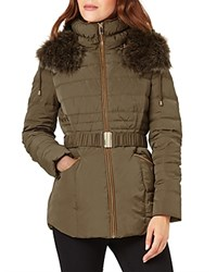 Phase Eight Paula Faux Fur Trim Puffer Coat Olive