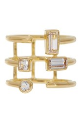 Elizabeth And James 24K Gold Plated Created White Sapphire Sol Ring Metallic