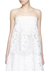 Ms Min Floral Paper Applique Organza Strapless Top White