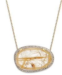 Macy's 14K Gold Over Sterling Silver Necklace Golden Rutilated Quartz 11 3 4 Ct. T.W. And Diamond 1 4 Ct T.W. Pendant
