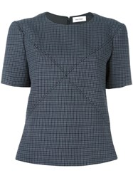 Courreges Crisscross Stitching Houndstooth Top Blue