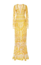 Naeem Khan Long Sleeve Contrasting Embroidered Sheath Gown Yellow