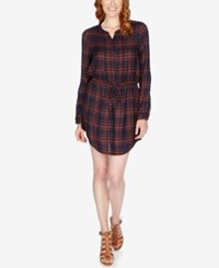 Lucky Brand Plaid Shirtdress Blue Multi