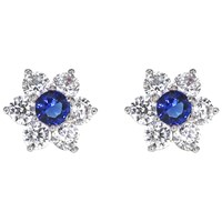 Ibb 9Ct White Gold Flower Cubic Zirconia Stud Earrings White