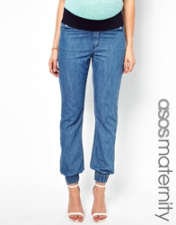 Asos Maternity Exclusive Lightweight Denim Trackpant Lightblue