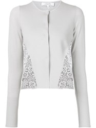 Dorothee Schumacher Embroidered Lace Panel Cardigan Grey