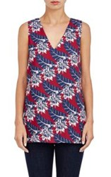 Thakoon Floral Stretch Crepe Top Red Size 2 Us