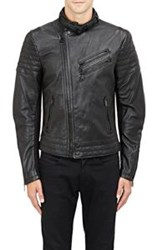 Ralph Lauren Black Label Pebbled Leather Jacket Black