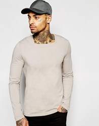 Asos Muscle Long Sleeve T Shirt With Square Neck In Gray Gray