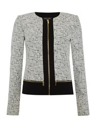 Episode Textured Jacket With Block Panel And Zip Detail Black White